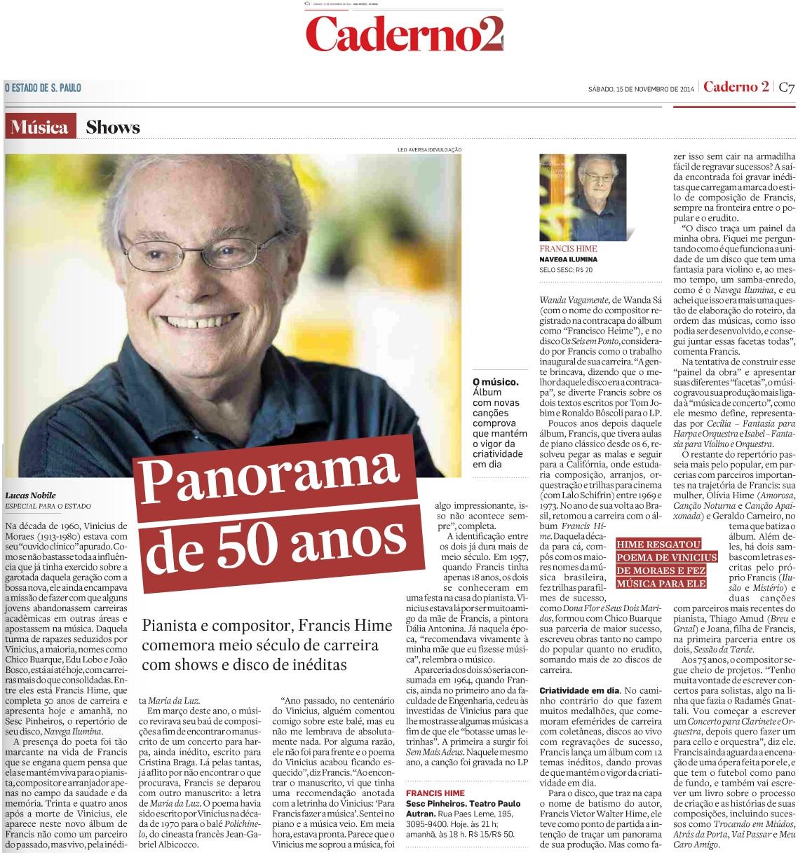 O Estado de S. Paulo - Caderno 2 - 15.11.2014